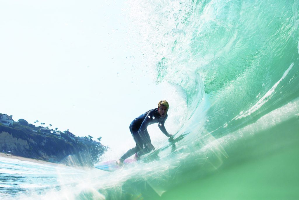 Conrad Carr surfing in Malibu during a recent swell. Photo by Lyon Herron